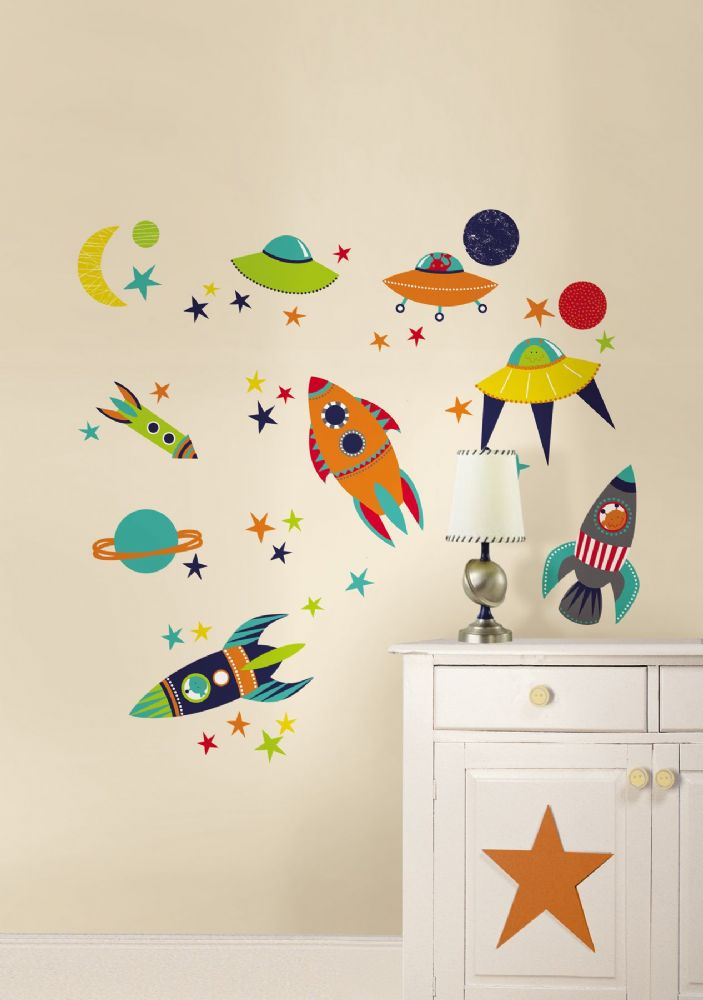 kids blast off wall art sticker kit